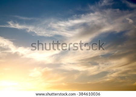 in the red blue sky cloud and sunrise       orange color - stock photo