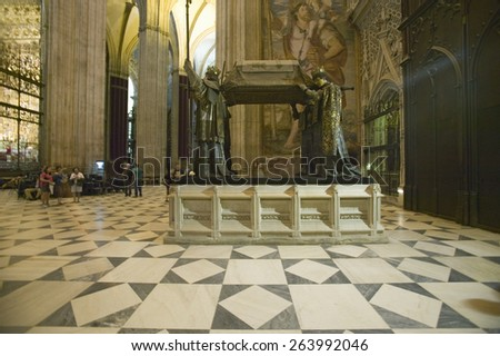 In the Sevilla Cathedral, Southern Spain, is the ornate tomb of Christopher Columbus. Here lies the remains of Columbus, the Discoverer of the New World  in October of 1492