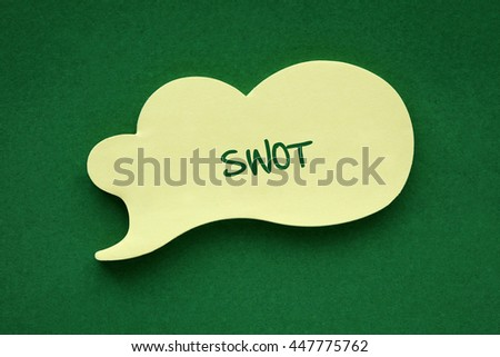 In the speech balloon on a green background Swot writes - stock photo