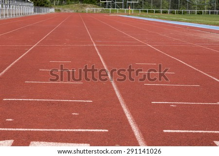 In the starting position on a track