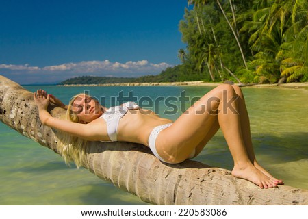 In the Summer Sunshine Tanning Pleasure  - stock photo