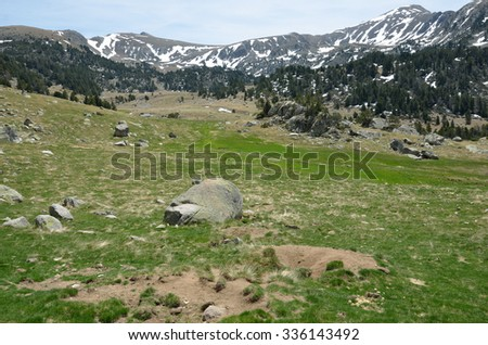 In the upper part of the Vall-de-Madriu-Perafita-Claror there are the high-altitude valleys with green meadows.