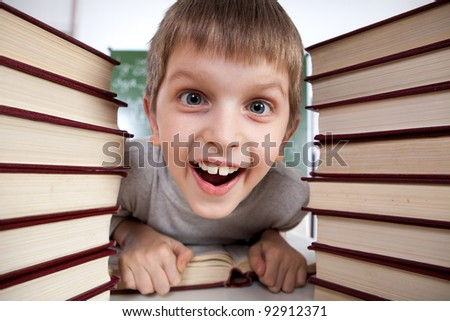 in the world of interesting books - stock photo