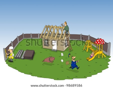 In the yard is being built a new private house - stock photo
