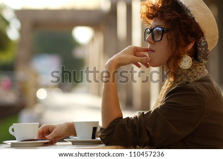 In thought of someone who hasn't come - stock photo