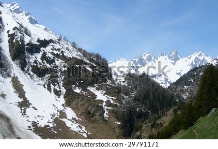 In vacation, hiking in the Swiss Alps, Switzerland - stock photo