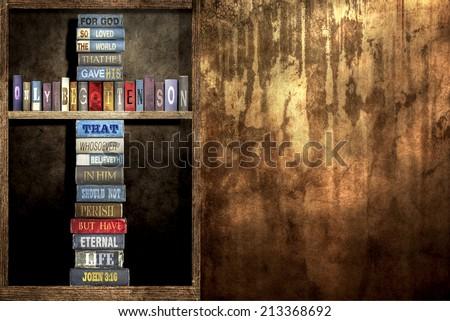 In - wall Bookshelf and The World, (John 3:16) - stock photo