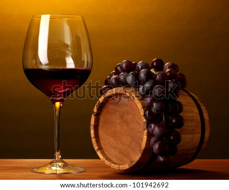 In wine cellar. Composition of wine bottles and runlet