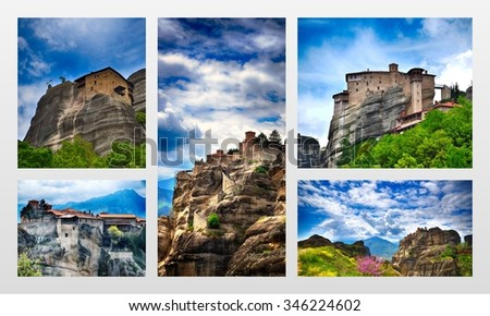 Inaccessible monasteries on the cliff in Meteora, Greece, photo collage