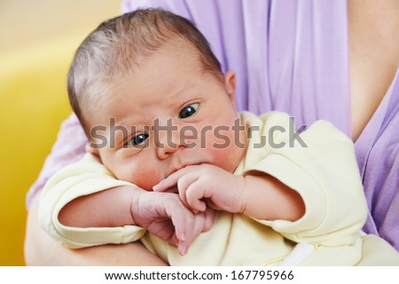 inborn squint phenomenon of newborn baby - stock photo