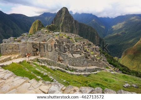 Inca citadel Machu Picchu in Peru. In 2007 Machu Picchu was voted one of the New Seven Wonders of the World.
