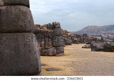 Inca fortress of Sacsayhuaman, Cusco, Peru, South America - stock photo