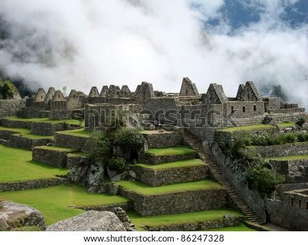 Inca ruins of Machu Picchu, near Cuzco, Peru - stock photo