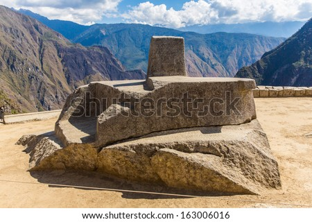 Inca Wall in Machu Picchu, Peru, South America. Example of polygonal masonry. The famous 32 angles stone in ancient Inca architecture. - stock photo