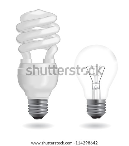 Incandescent and fluorescent energy saving light bulbs. Vector version also available in my portfolio.