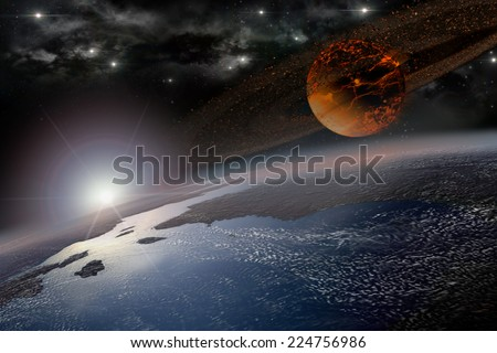 Incandescent celestial body nearing Earth in sunrise for apocalyptic or space backgrounds - stock photo
