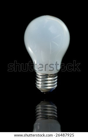 Incandescent lamp on a black background