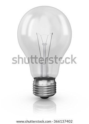incandescent light bulb on a white background - stock photo