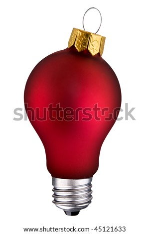 incandescent lightbulb with holiday ornament inside isolated over white with a clipping path - stock photo