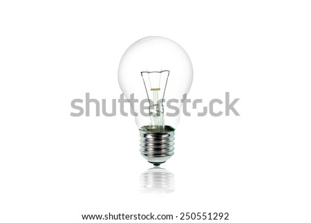 incandescent lighted bulb isolated on pure white background - stock photo