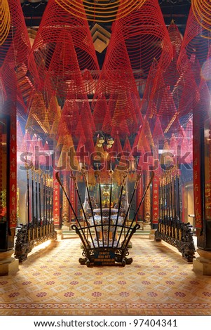 Incense coils in an ancient Hanoi temple - stock photo