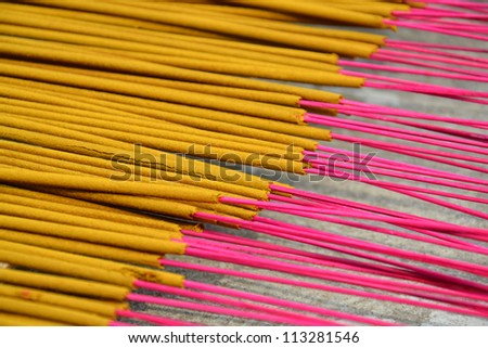 Incense sticks drying on the sun - stock photo