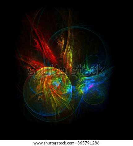 Inception - Planets in Collision abstract illustration - stock photo