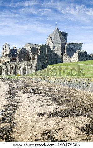 Inchcolm Abbey on the island of Inchcolm, Firth of Forth, Edinburgh, Scotland - stock photo