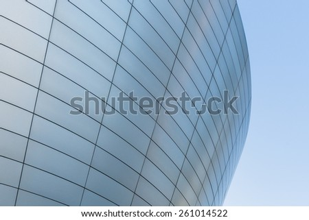 INCHEON, SOUTH KOREA -MAR 04: Tri-bowl Building in Songdo district, Incheon, South Korea. This architecture is a remarkably shaped exhibition and performance space on March 04, 2015 - stock photo