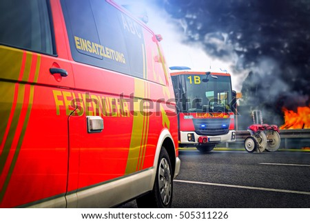 Incident Command Vehicle ( Einsatzleitung) From German (Feuerwehr) Fire  Brigade Stands On A