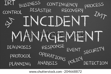 Incident Management word cloud written on a chalkboard - stock photo