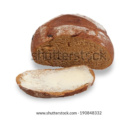 Incised and loaf of bread buttered isolated on white background - stock photo