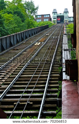 Incline track detail - stock photo