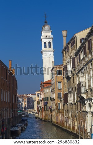Inclined bell tower of the Church of San Giorgio dei Greci in Venice. Italy