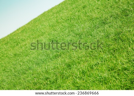 Inclined slope with green grass and blue sky - stock photo