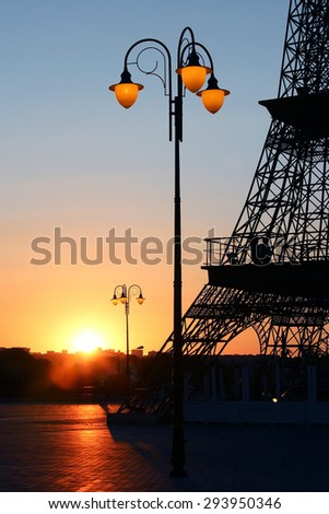 included street lamp at sunset  - stock photo