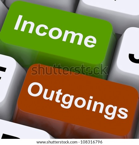Income Outgoings Keys Showing Budgeting And Bookkeeping - stock photo