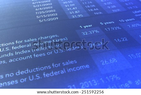 Income statement showing taxes - stock photo