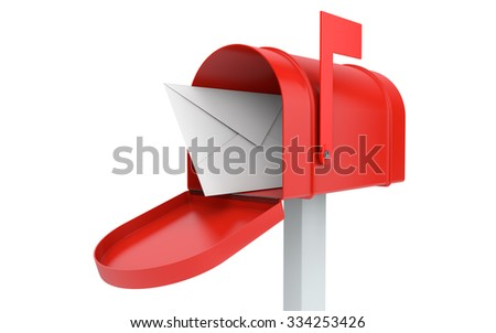 Incoming mail. mailbox with letter isolated on white with clipping path - stock photo
