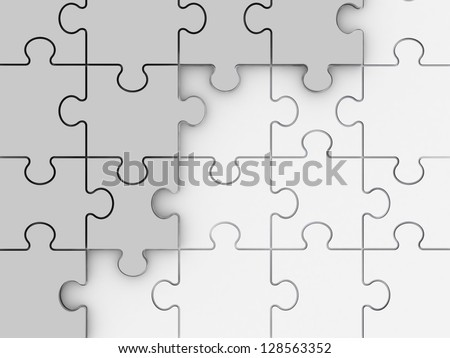 Incomplete concept, white jigsaw puzzle pieces.
