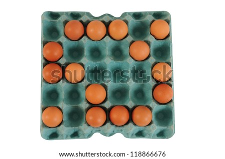 Incomplete Egg carton. Isolated - stock photo