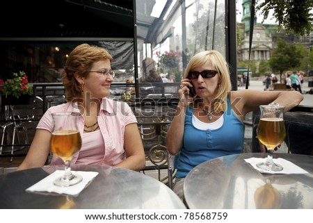 Inconsiderate woman talikng on phone - stock photo