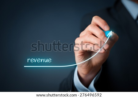 Increase revenue concept. Businessman plan revenue growth.  - stock photo