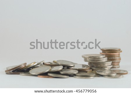 increasing coins charts isolated on white background