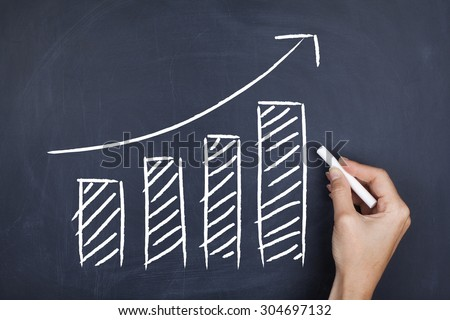 Increasing graph bars / Growth moving up development financial increase sales concept background - stock photo