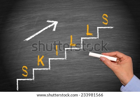 Increasing Skills Level - Business and Education Chalkboard - stock photo