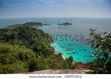Incredible Aereal View of Tropical Turouise Beach at Similan Island.  Yacht. Thailand. Asia. Marine Park.