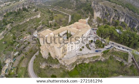 incredible Cuenca -a aerial view of Parador. Spain - stock photo