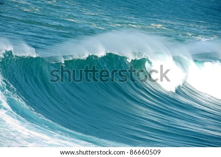 Incredible huge wave at the atlantic ocean - stock photo