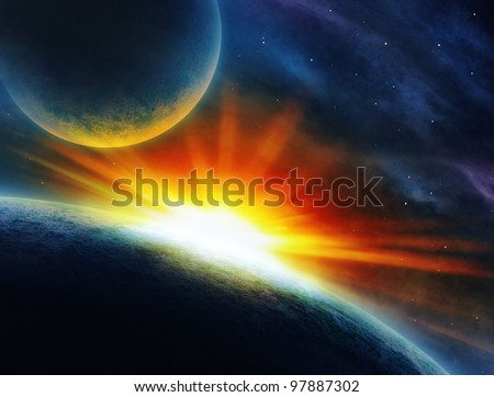 incredible scene of two planets. - stock photo